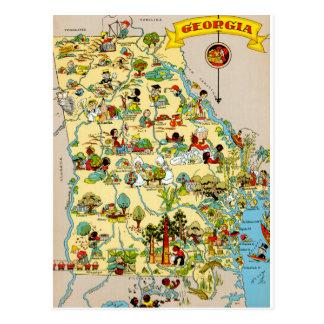 Mapa del vintage de Georgia Tarjeta Postal