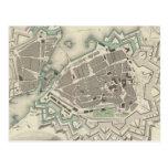Mapa del vintage de Ginebra (1841) Postal