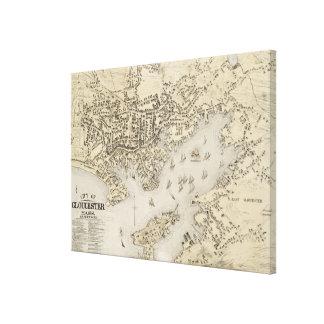 Mapa del vintage de Gloucester Massachusetts (1873 Impresión En Lienzo