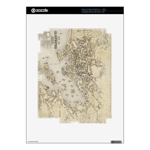 Mapa del vintage de Gloucester Massachusetts (1873 Calcomanía Para iPad 2