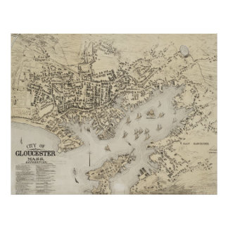 Mapa del vintage de Gloucester Massachusetts (1873 Impresiones