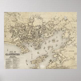 Mapa del vintage de Gloucester Massachusetts (1873 Póster