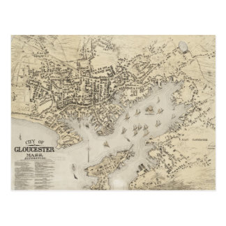 Mapa del vintage de Gloucester Massachusetts (1873 Postal