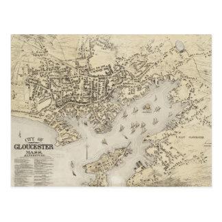 Mapa del vintage de Gloucester Massachusetts Tarjeta Postal