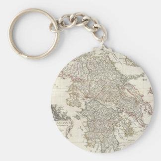 Mapa del vintage de Grecia (1794) Llavero Redondo Tipo Pin