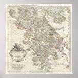 Mapa del vintage de Grecia (1794) Poster