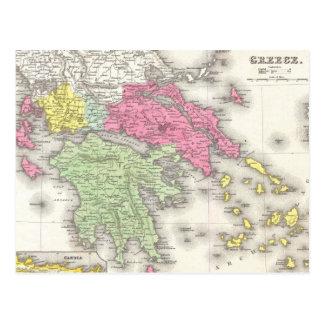 Mapa del vintage de Grecia (1853) Postal
