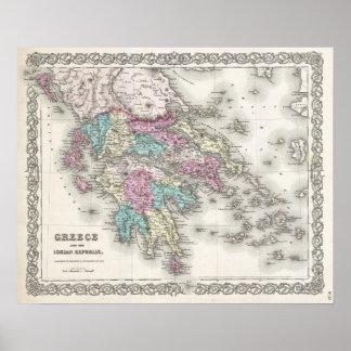Mapa del vintage de Grecia (1855) Póster