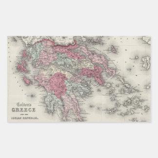 Mapa del vintage de Grecia (1865) Pegatina Rectangular