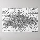 Mapa del vintage de Haití (1911) Poster