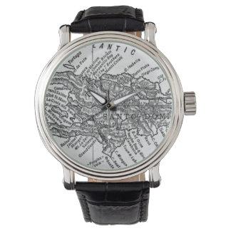 Mapa del vintage de Haití (1911) Relojes De Mano