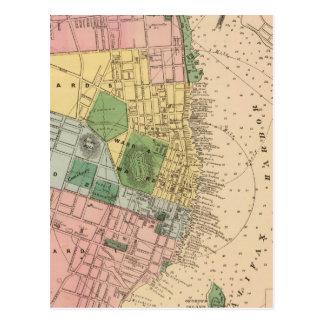 Mapa del vintage de Halifax Nueva Escocia (1878) Tarjetas Postales