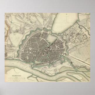 Mapa del vintage de Hamburgo Alemania (1841) Póster
