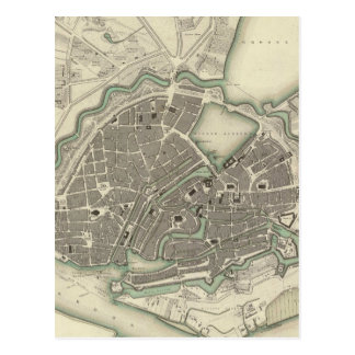 Mapa del vintage de Hamburgo Alemania (1841) Tarjetas Postales