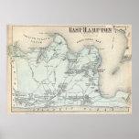Mapa del vintage de Hampton del este Nueva York Póster
