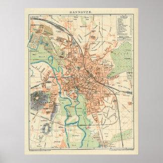 Mapa del vintage de Hannover Alemania (1895) Póster
