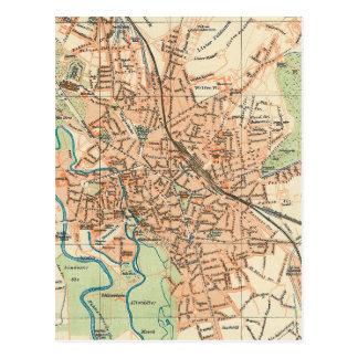 Mapa del vintage de Hannover Alemania (1895) Tarjeta Postal