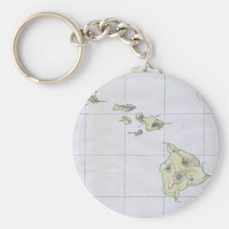 Mapa del vintage de Hawaii (1883) Llavero Redondo Tipo Pin