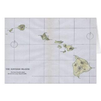 Mapa del vintage de Hawaii (1883) Tarjeta De Felicitación