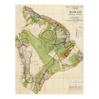 Mapa del vintage de Hawaii Island (1906) Postales
