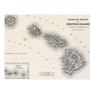 Mapa del vintage de Hawaii y de Nueva Zelanda Postal