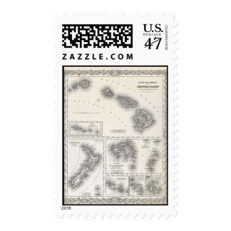 Mapa del vintage de Hawaii y de Nueva Zelanda Timbres Postales