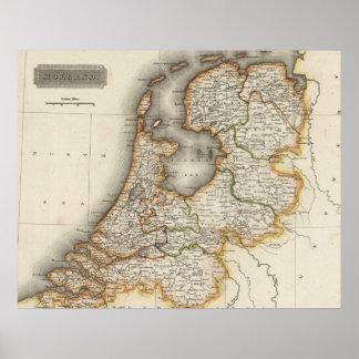 Mapa del vintage de Holanda (1817) Posters
