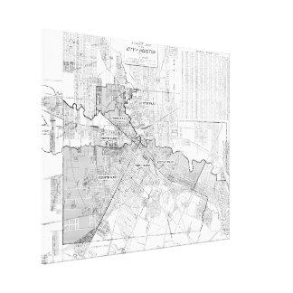 Mapa del vintage de Houston (1920) Impresion De Lienzo