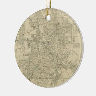 Mapa del vintage de Houston céntrica (1913) Adorno Navideño Redondo De Cerámica
