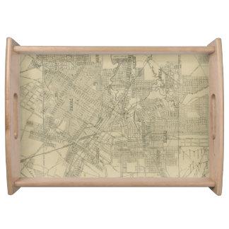 Mapa del vintage de Houston céntrica (1913) Bandeja