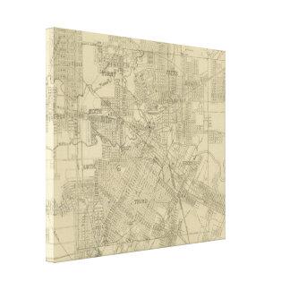 Mapa del vintage de Houston céntrica (1913) Impresión De Lienzo