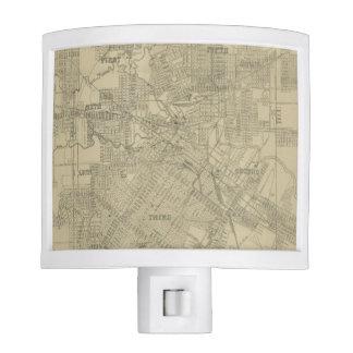 Mapa del vintage de Houston céntrica (1913) Lámparas De Noche