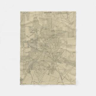Mapa del vintage de Houston céntrica (1913) Manta De Forro Polar