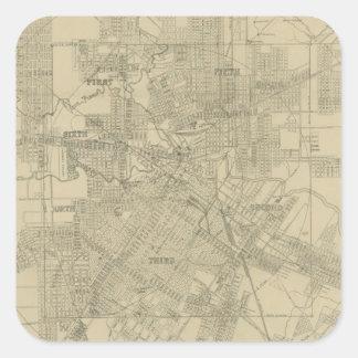 Mapa del vintage de Houston céntrica (1913) Pegatina Cuadrada