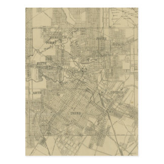Mapa del vintage de Houston céntrica 1913 Postales