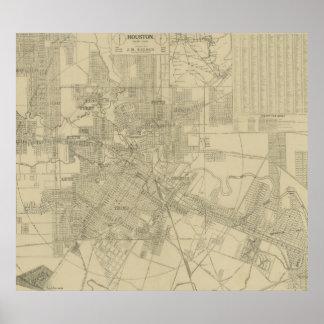 Mapa del vintage de Houston céntrica (1913) Póster