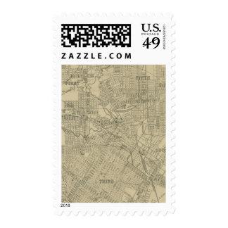 Mapa del vintage de Houston céntrica (1913) Sellos Postales