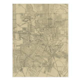 Mapa del vintage de Houston céntrica (1913) Postales