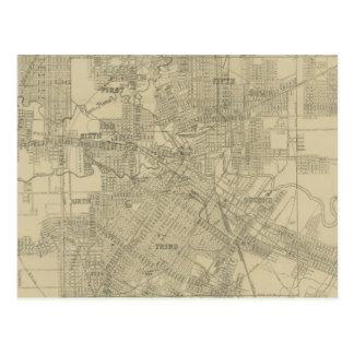 Mapa del vintage de Houston céntrica (1913) Tarjeta Postal