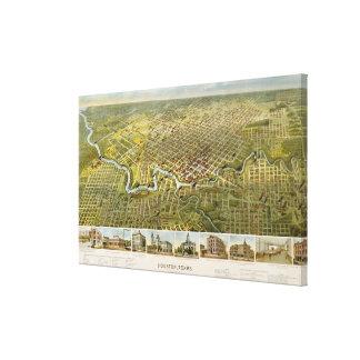 Mapa del vintage de Houston Tejas (1891) Lona Envuelta Para Galerías