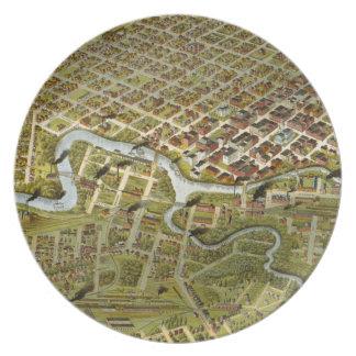 Mapa del vintage de Houston Tejas (1891) Plato