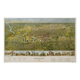 Mapa del vintage de Houston Tejas (1891) Póster