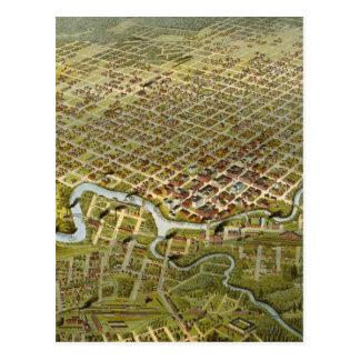 Mapa del vintage de Houston Tejas (1891) Tarjetas Postales
