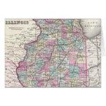 Mapa del vintage de Illinois (1855) Felicitaciones