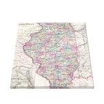 Mapa del vintage de Illinois (1855) Impresion De Lienzo