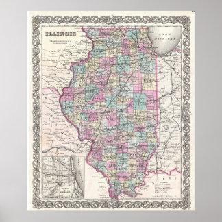 Mapa del vintage de Illinois (1855) Póster