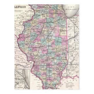 Mapa del vintage de Illinois (1855) Postal