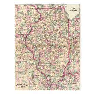 Mapa del vintage de Illinois (1874) Postal