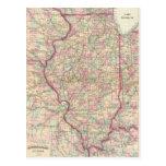 Mapa del vintage de Illinois (1874) Postales