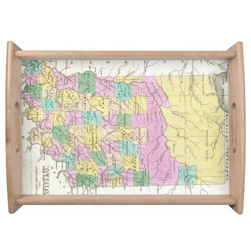 Mapa del vintage de Indiana (1827) Bandejas